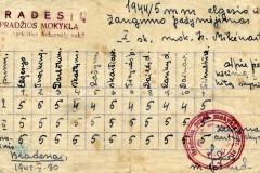 Bradesių pradžios mokyklos pirmo skyriaus mokinės Irenos Mikėnaitės elgesio ir pažangumo pažymėjimas. 1945 05 30. Nuotrauka iš Irenos Mikėnaitės archyvo
